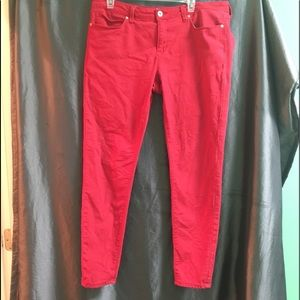 Red Denim Skinny Jeans. Great Condition.